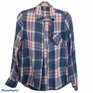 Woolrich women's plaid button down shirt pink/blue